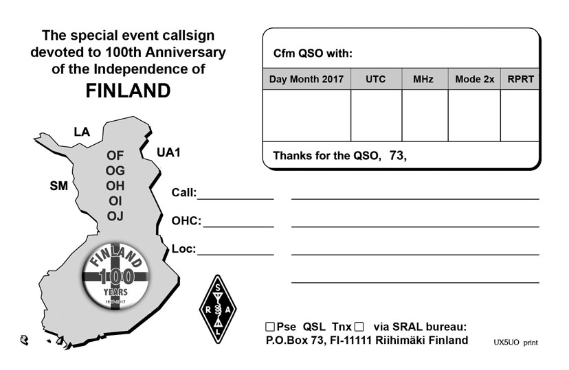 Suomen 100 vuotis QSL-kortti