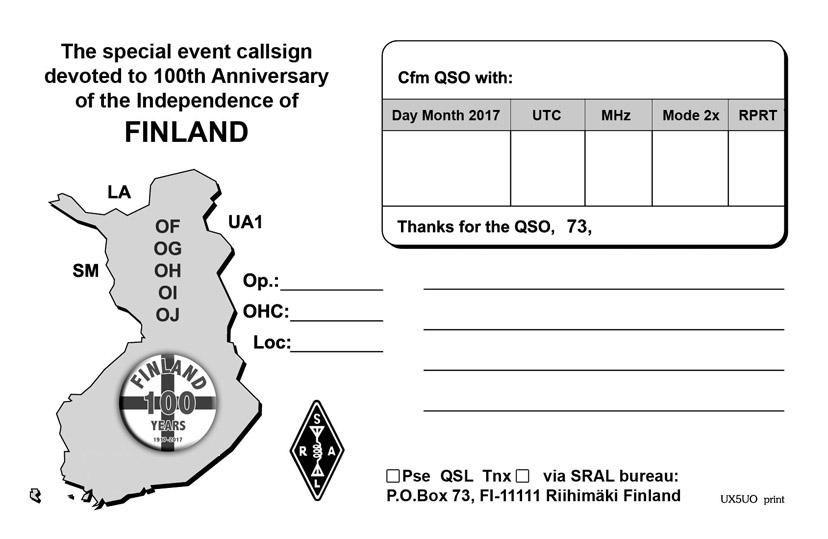 Suomen 100 vuotis QSL-kortti virallisella Suomi 100 v-logolla